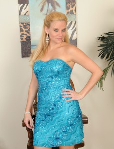Elegant  Blond Lily Sway  Unclothes and  Opens Her 30 Year Old Gams