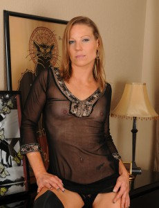 Blond  Wife Alyssa Dutch Posing in and out of Her Black Undies