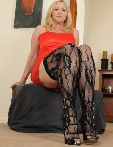 57 Year Old Annabelle from  Onlyover30 Looking  Hot in Her Black Pantyhose