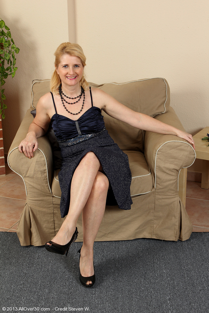 Elegant Fifty Year Old Jennyfer B Slips out of Her Dark Evening Dress