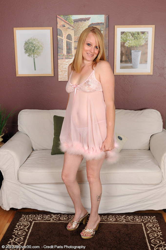 Pale  Blond Haired  Wifey Willow from  Onlyover30 in Slinky Pink Thong