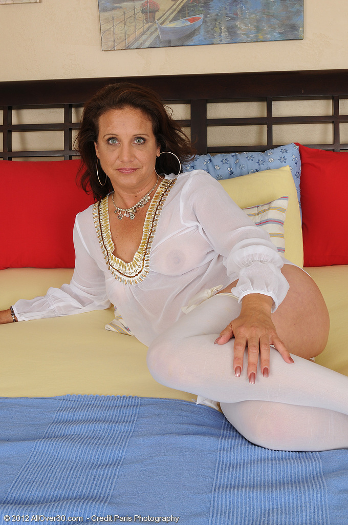 43 Year Old Chane Looking Super Sexy in Her Lace and White Tights