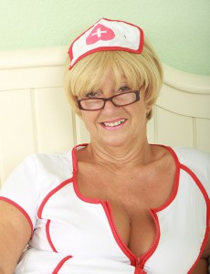62 Year Old Samantha from  Onlyover30 Plays a Kinky Nurse in Here