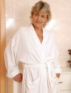 45 Year Old  Wifey Sherry D Opens Her Robe and Gives Us a Peek
