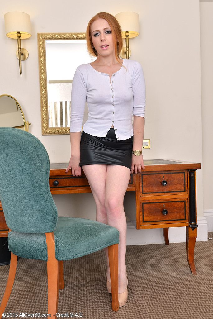 Hot Redhead Babe Tia Jones Glides out of Her Petticoat and Stretches Her Gams