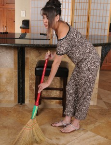 Deviant Oriental Stunner Jade Hsu Cleans House and  Undresses Down for a Adult Baby Playtime